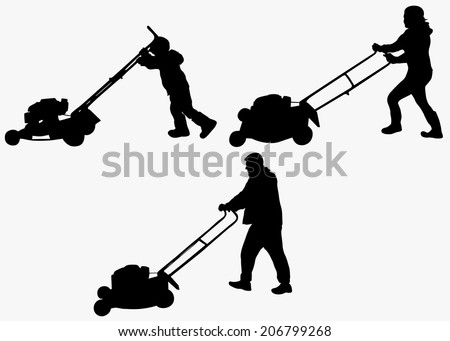 Boy with lawn mower - stock vector