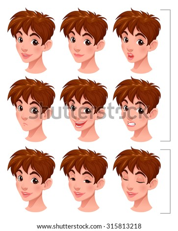 Boy with lip sync and blinking eyes. Isolated objects, mouths and eyes on separated layers. - stock vector