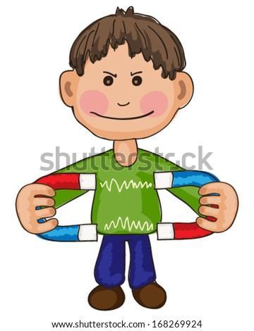 Boy with magnet - stock vector