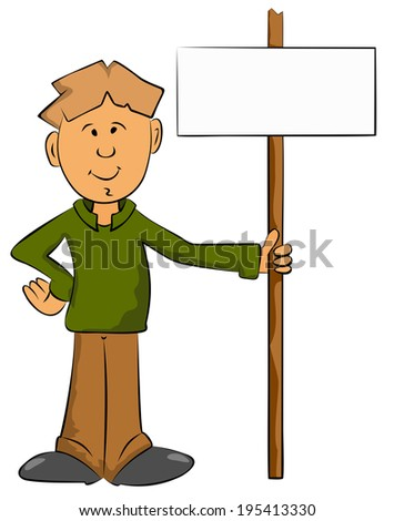 boy with pointer indicating the path and place for text - stock vector