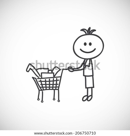 Boy with shopping cart - stock vector