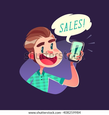 Boy with the smartphone. Vector illustration. - stock vector