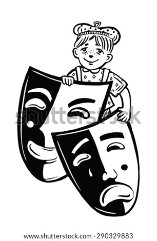 boy with theatrical masks. black-and-white picture