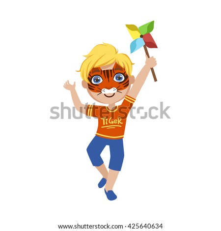 Boy With Tiger Make Up Bright Color Cartoon Childish Style Flat Vector Drawing Isolated On White Background - stock vector