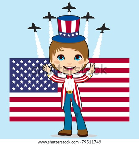 Boy with Uncle Sam costume celebrating United States of America Independence Day in front of Stars and Stripes flag and jet fighter air show - stock vector