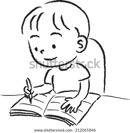 boy writing stock vector royalty free 212065846
