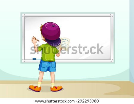 Boy writing on whiteboard inside the room - stock vector