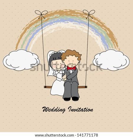 Boyfriends swinging on a rainbow. wedding card. - stock vector