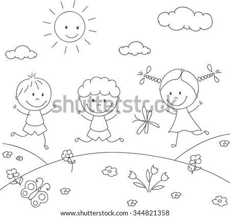 Boys and a girl playing in the meadow. Coloring book. Vector illustration - stock vector