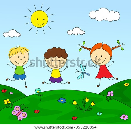 Boys and a girl playing in the meadow. Vector illustration - stock vector