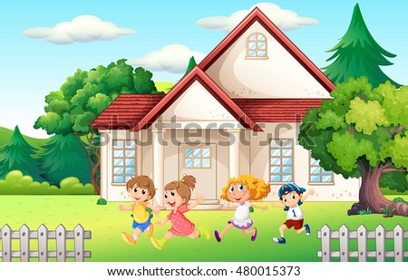 Boys and girl running in the backyard illustration