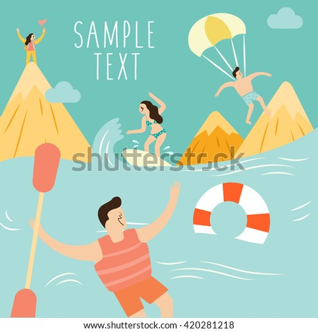 Boys and Girls And Summer Vacation : Vector Illustration