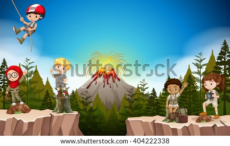 Boys and girls camping in the mountain illustration