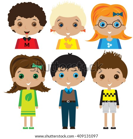 Boys and girls character illustration. Children icons