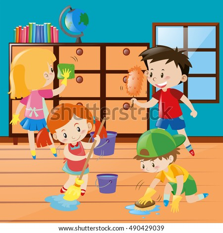 Boys Girls Cleaning Room Together Illustration 스톡 벡터 ...