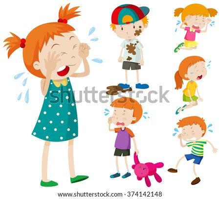 Boys and girls crying illustration - stock vector