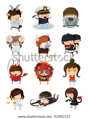 Boys and girls dressed like signs of zodiac - stock vector