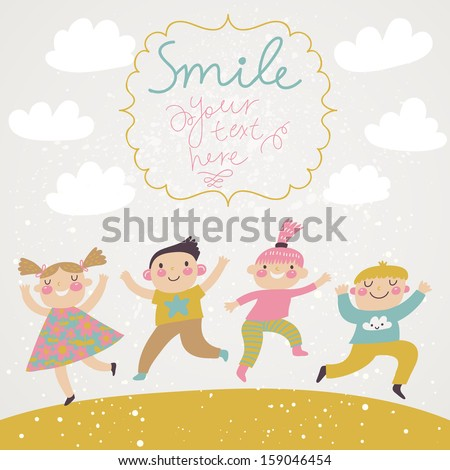 Boys and girls having fun outdoors. Concept childish background in cartoon style - stock vector