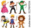Boys and girls in fancy costumes - stock vector