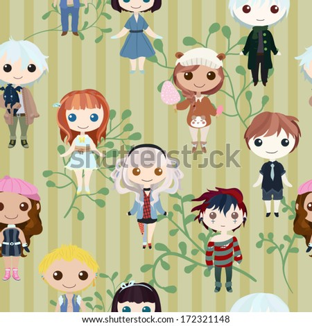 Boys and girls in striped background seamless pattern