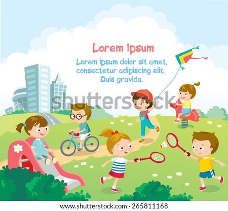 boys and girls playing on the playground - stock vector