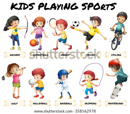 Boys and girls playing sports illustration - stock vector