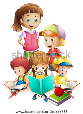 Boys and girls reading book illustration
