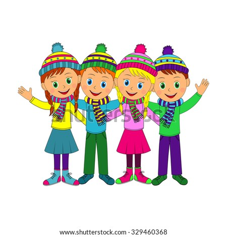 boys and girls smiling and waving his hand, illustration, vector
