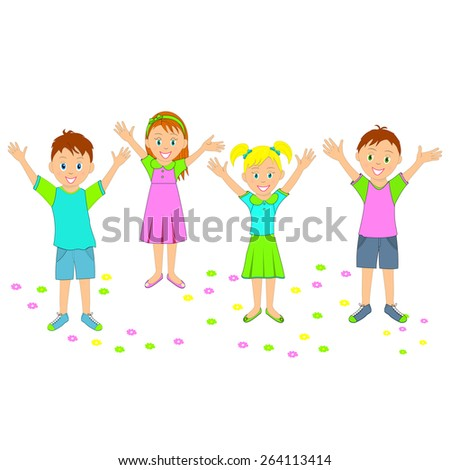 boys and girls smiling with their hands up, illustration, vector - stock vector