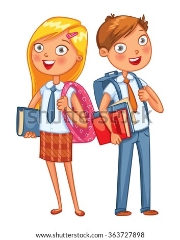 Boys and girls stand back to back. Funny cartoon character. Vector illustration. Isolated on white background - stock vector