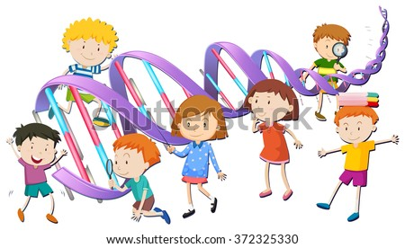 Boys and girls with DNA model illustration - stock vector