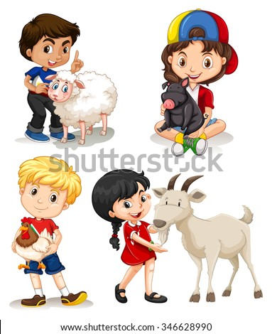 Boys and girls with farm animals illustration - stock vector