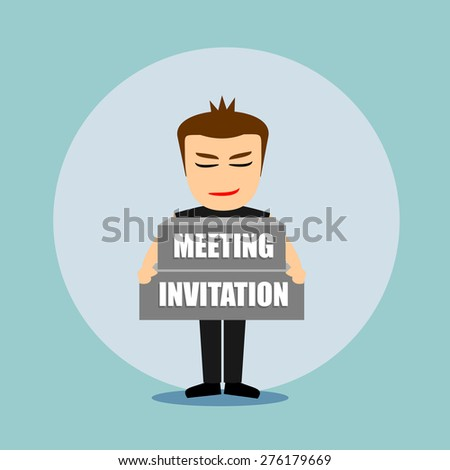 Boys cartoon character meeting invitation board stock vector boys cartoon character meeting invitation board stopboris Image collections