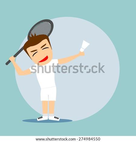 Boys cartoon character - playing badminton - stock vector