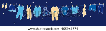 Boys' clothes and toys drying on the clothesline on sky background. Banner.  - stock vector