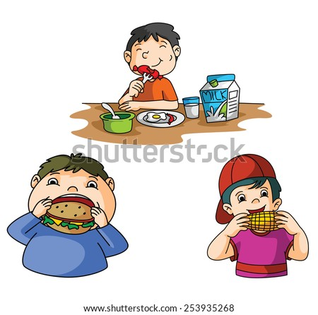 Boys Eat Burger  - stock vector