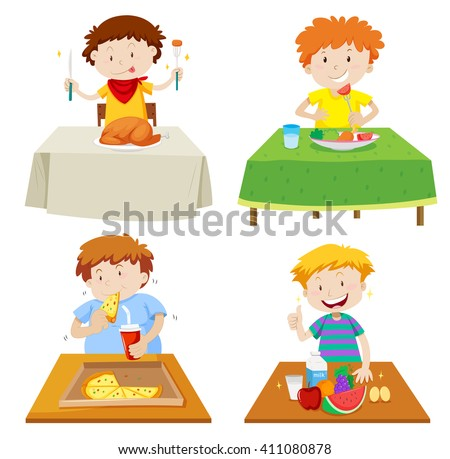 Boys eating at dining table illustration - stock vector