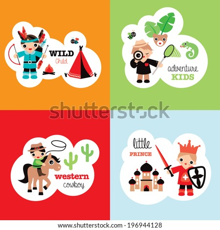 Boys fantasy theme retro bedroom wall poster set cowboy prince jungle adventure and indian wild child in vector - stock vector