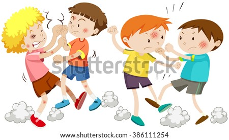 Boys fighting and getting hurt illustration - stock vector