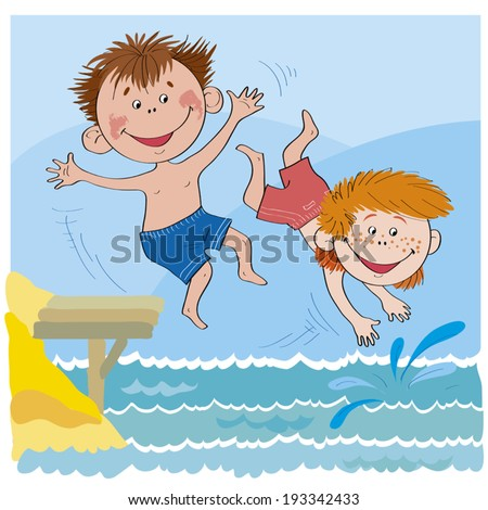 Boys jump from the bridge in water -Illustration done in cartoon style.Cheerful children-Boys jump in water-illustration