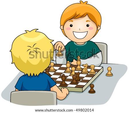 Boys playing Chess - Vector - stock vector
