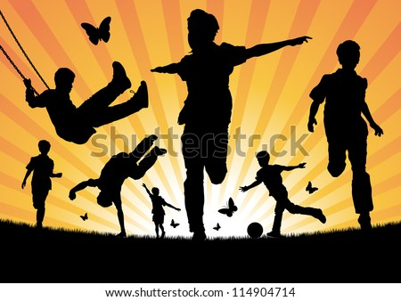 Boys Playing in the Sun - stock vector