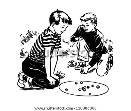 Boys Playing Marbles - Retro Clipart Illustration - stock vector