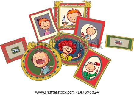 Boys portraits in frames - stock vector