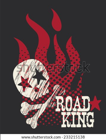 Boys Road King Gritty Skull & Flames TShirt Silkscreen - stock vector