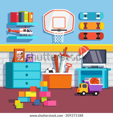 Boys room with toys skateboards and basketball ring.Flat style cartoon vector illustration with isolated objects. - stock vector