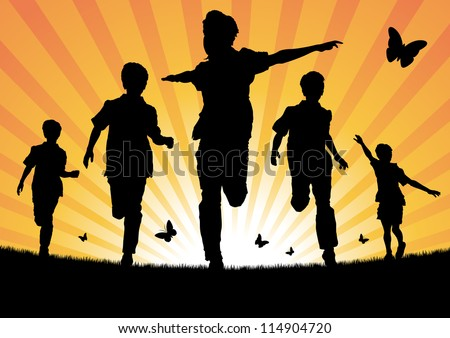 Boys Running in the Sun - stock vector
