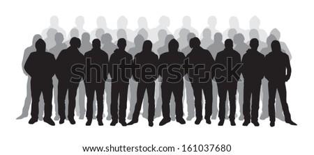Boys silhouettes - stock vector