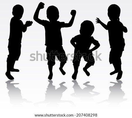 Boys silhouettes - stock vector
