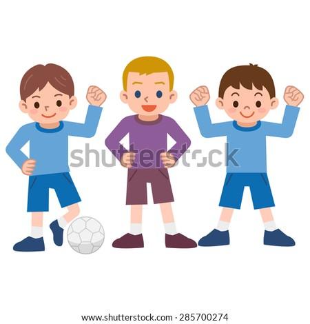 Boys to the football - stock vector